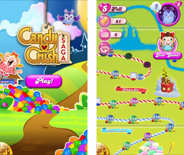 Candy Crush Start Screen